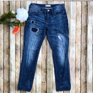 Madewell slim boyjean dark blue distressed jeans